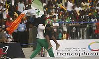 VillËs Jeux de la Francophonie Abidjan 2017 / CompÈtitions Sportives Lutte Africaine finale des Femmes, Youin Amy CÙte d'Ivoirel en ceinture rouge mÈdaillÈ OR laprËs sa qualification, au parc des Sport de Treichville, / Abidjan 29 juillet 2017 / VISUAL / Diomande CÈlestin