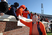 Virginia head coach Al Groh greet fans who camped out in tents for days before the start of the Virginia/Virginia Tech game Saturday November 19, 2005 at Scott Stadium in Charlottesville, Va. ( Photo/The Daily Progress/Andrew Shurtleff)