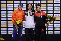 SPEEDSKATING: CALGARY: 03-03-2019, ISU World Allround Speed Skating Championships, Podium 1500m Ladies, Ireen Wüst (NED), Miho Takagi (JPN), Ivanie Blondin (CAN), ©Fotopersburo Martin de Jong