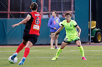Rochester, NY - Saturday July 09, 2016: Abby Erceg, Nahomi Kawasumi during a regular season National Women's Soccer League (NWSL) match between the Western New York Flash and the Seattle Reign FC at Frontier Field.