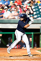 Jose Rojas (25) of the Mobile BayBears waits for the pitch from the Chattanooga Lookouts on June 3, 2018 at AT&T Field in Chattanooga, Tennessee. (Andy Mitchell/Four Seam Images)
