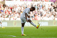 Saturday 4th  October 2014 Pictured: Wilfried Bony of Swansea City kicks the floor in frustration <br /> Re: Barclays Premier League Swansea City v Newcastle United at the Liberty Stadium, Swansea, Wales,UK