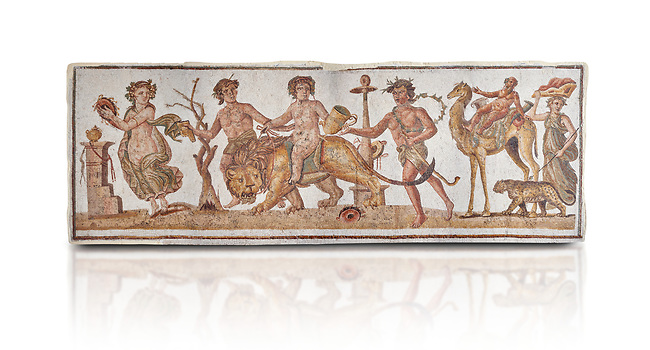 Picture of a Roman mosaics design depicting Dionysus riding a lion; from the ancient Roman city of Thysdrus. 2nd century AD House of the Dionysus Proccession. El Djem Archaeological Museum; El Djem; Tunisia. Against a white background