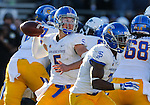 San Jose State's Kenny Potter passes in an NCAA college football game against Nevada in Reno, Nev., on Saturday, Nov. 14, 2015. Nevada won 37-34 in overtime. (AP Photo/Cathleen Allison)