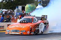 Aug. 18, 2013; Brainerd, MN, USA: NHRA funny car driver Johnny Gray during the Lucas Oil Nationals at Brainerd International Raceway. Mandatory Credit: Mark J. Rebilas-