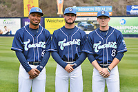 Asheville Tourists outfielders (L-R) Daniel Montano (24), Cade Harris (4) and Will Golsan (8) during media day at McCormick Field on April 2, 2019 in Asheville, North Carolina. (Tony Farlow/Four Seam Images)