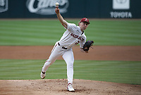 Arkansas Jaxon Wiggins (22) pitches, Monday, June 7, 2021 in the second inning of the NCAA Fayetteville Regional at Baum-Walker Stadium in Fayetteville. Check out nwaonline.com/210608Daily/ for today's photo gallery. <br /> (NWA Democrat-Gazette/Charlie Kaijo)