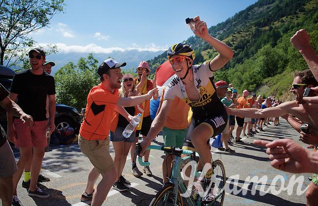 Sep Vanmarcke (BEL/LottoNL-Jumbo) enjoying the craziness at the Dutch Corner (nr7) up Alpe d'Huez & filming his passage at the same time<br /> <br /> stage 20: Modane Valfréjus - Alpe d'Huez (111km)<br /> 2015 Tour de France