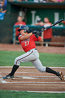 Dylan Harris (27) of the Billings Mustangs bats against the Ogden Raptors at Lindquist Field on August 18, 2018 in Ogden, Utah. Billings defeated Ogden 6-4. (Stephen Smith/Four Seam Images)