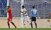 Calcio, Serie A: Lazio vs Juventus. Roma, stadio Olimpico, 4 dicembre 2015.<br /> Juventus' Mario Mandzukic, center, celebrates after Lazio's Santiago Gentiletti, right, scored an own goal during the Italian Serie A football match between Lazio and Juventus at Rome's Olympic stadium, 4 December 2015. At left, Lazio's goalkeeper Federico Marchetti reacts.<br /> UPDATE IMAGES PRESS/Riccardo De Luca