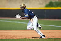 Broadus Roberson (39) of the Queens Royals takes off for second base during game two of a double-header against the Catawba Indians at Tuckaseegee Dream Fields on March 26, 2021 in Kannapolis, North Carolina. (Brian Westerholt/Four Seam Images)