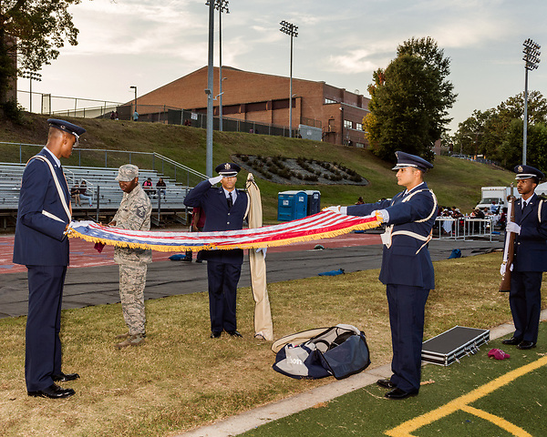 September 21, 2017. Durham, North Carolina.<br /> <br /> The honor guard prepares the flag for the singing of the national anthem as well as the black national anthem. <br /> <br /> The NCCU Eagles won a home game against the the South Carolina State Bulldogs 33-28 at O'Kelly–Riddick Stadium.