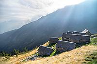 The Capanna Alpe Spluga, on the Via Alta Via Maggia, a difficult week long trek from Locarno to Broglio, Switzerland