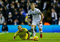 Leeds United's Liam Cooper gets past Norwich City's Teemu Pukki<br /> <br /> Photographer Alex Dodd/CameraSport<br /> <br /> The EFL Sky Bet Championship - Leeds United v Norwich City - Saturday 2nd February 2019 - Elland Road - Leeds<br /> <br /> World Copyright © 2019 CameraSport. All rights reserved. 43 Linden Ave. Countesthorpe. Leicester. England. LE8 5PG - Tel: +44 (0) 116 277 4147 - admin@camerasport.com - www.camerasport.com