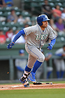 Designated hitter Emmanuel Rivera (7) of the Lexington Legends runs toward first in a game against the Greenville Drive on Wednesday, April 12, 2017, at Fluor Field at the West End in Greenville, South Carolina. Greenville won, 4-1. (Tom Priddy/Four Seam Images)