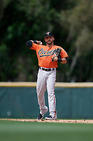 Baltimore Orioles Alexis Torres (3) throws to first base during a Minor League Spring Training game against the Boston Red Sox on March 20, 2019 at the Buck O'Neil Baseball Complex in Sarasota, Florida.  (Mike Janes/Four Seam Images)
