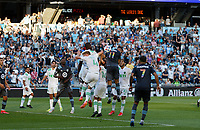 SAINT PAUL, MN - JUNE 23: Niko Hansen #11 of Minnesota United FC and Aedan Stanley #4 of Austin FC battle for the ball during a game between Austin FC and Minnesota United FC at Allianz Field on June 23, 2021 in Saint Paul, Minnesota.