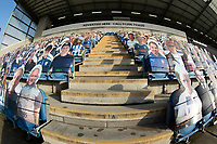 An unusual view of the makeshift fans for the behind doors cup fixture between Colchester United vs Marine, Emirates FA Cup Football at the JobServe Community Stadium on 7th November 2020