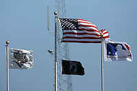 March 4, 2010:  Flags flying during a Philadelphia Phillies Spring Training game at Bright House Field in Clearwater, FL.  Photo By Mike Janes/Four Seam Images