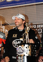Nov. 13, 2011; Pomona, CA, USA; NHRA top fuel dragster driver Del Worsham celebrates after winning the 2011 championship and the Auto Club Finals at Auto Club Raceway at Pomona. Mandatory Credit: Mark J. Rebilas-.