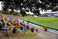 A general view from the embankment during day three of the second International Test Cricket match between the New Zealand Black Caps and West Indies at the Basin Reserve in Wellington, New Zealand on Sunday, 13 December 2020. Photo: Dave Lintott / lintottphoto.co.nz
