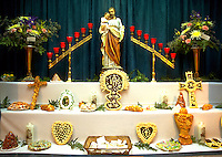 An elaborate religious altar display celebrating St. Joseph's Day. Louisiana.