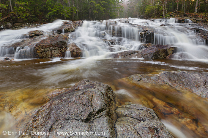 Cascade Brook Falls on Cascade Brook in Lincoln, New Hampshire on a rainy spring day. Located along the Basin-Cascades Trail, this series of cascades has been referred to by a number of names over the years. During the 1800s, it was referred to as Walton's Cascade.
