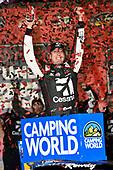 NASCAR Camping World Truck Series<br /> Toyota Tundra 250<br /> Kansas Speedway, Kansas City, KS USA<br /> Friday 12 May 2017<br /> Kyle Busch, Cessna Toyota Tundra celebrates his win in Victory Lane<br /> World Copyright: Nigel Kinrade<br /> LAT Images<br /> ref: Digital Image 17KAN1nk07139