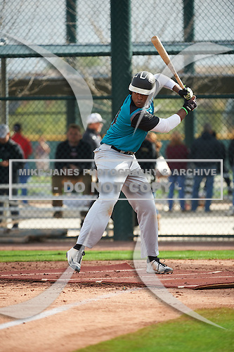 John Malcom (14) of Detroit Country Day High School in West Bloomfield, Michigan during the Under Armour All-American Pre-Season Tournament presented by Baseball Factory on January 14, 2017 at Sloan Park in Mesa, Arizona.  (Art Foxall/Mike Janes Photography)