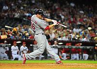 Apr. 11, 2011; Phoenix, AZ, USA; St. Louis Cardinals pitcher Kyle McClellan hits an RBI single in the fourth inning against the Arizona Diamondbacks at Chase Field. Mandatory Credit: Mark J. Rebilas-