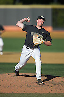 Wake Forest Demon Deacons relief pitcher Chris Farish (32) in action against the Florida State Seminoles at David F. Couch Ballpark on April 16, 2016 in Winston-Salem, North Carolina.  The Seminoles defeated the Demon Deacons 13-8.  (Brian Westerholt/Four Seam Images)