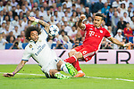 Thiago (R) of FC Bayern Munich battles for the ball with Marcelo Vieira Da Silva (L) of Real Madrid during their 2016-17 UEFA Champions League Quarter-finals second leg match between Real Madrid and FC Bayern Munich at the Estadio Santiago Bernabeu on 18 April 2017 in Madrid, Spain. Photo by Diego Gonzalez Souto / Power Sport Images