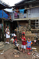 Children in a slum community in central Jakarta.<br />