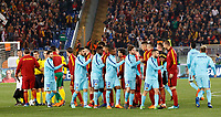 Roma and Barcelona players greet before the start of their Uefa Champions League quarter final second leg football match between AS Roma and FC Barcelona at Rome's Olympic stadium, April 10, 2018.<br /> UPDATE IMAGES PRESS/Riccardo De Luca