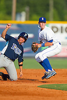 Shortstop Alex McClure #2 on defense against the Princeton Rays at Burlington Athletic Stadium July 11, 2010, in Burlington, North Carolina.  Photo by Brian Westerholt / Four Seam Images