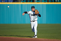 Coastal Carolina Chanticleers second baseman Brian Port (5) makes a throw to first base against the Illinois Fighting Illini at Springs Brooks Stadium on February 22, 2020 in Conway, South Carolina. The Fighting Illini defeated the Chanticleers 5-2. (Brian Westerholt/Four Seam Images)