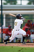 GCL Pirates center fielder Yondry Contreras (41) at bat during a game against the GCL Phillies on August 6, 2016 at Pirate City in Bradenton, Florida.  GCL Phillies defeated the GCL Pirates 4-1.  (Mike Janes/Four Seam Images)