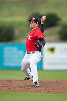 Kannapolis Intimidators relief pitcher Jacob Morris (31) in action against the Hickory Crawdads at CMC-Northeast Stadium on April 17, 2015 in Kannapolis, North Carolina.  The Crawdads defeated the Intimidators 9-5 in game one of a double-header.  (Brian Westerholt/Four Seam Images)