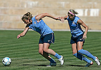 Cat Whitehill fights for the ball with Leslie Osborne during the USA women's national team practice session at Montechoro Hotel soccer fields during Algarve Women´s Soccer Cup 2008 in Albufeira, Portugal on March 08, 2008. Paulo Cordeiro/isiphotos.com