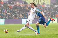 Sam Clucas of Swansea scores his sides first goal of the match during the Premier League match between Swansea City and Arsenal at the Liberty Stadium, Swansea, Wales, UK. Tuesday 30 January 2018