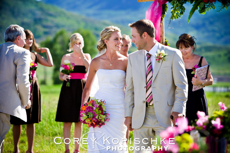 """Bride and groom moments after their """"I do"""" moment in Steamboat Colorado."""