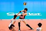 Yuki Ishii of Japan passes the ball during the FIVB Volleyball Nations League Hong Kong match between Japan and Italy on May 29, 2018 in Hong Kong, Hong Kong. Photo by Marcio Rodrigo Machado / Power Sport Images