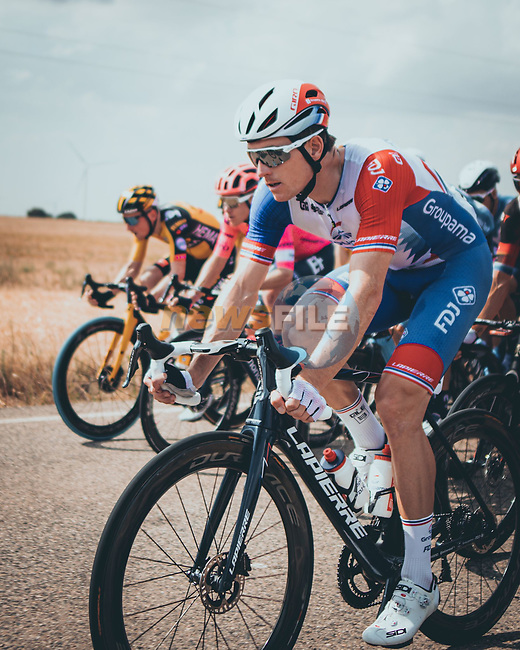 Arnaud Demare (FRA) Groupama-FDJ in the peloton during Stage 5 of La Vuelta d'Espana 2021, running 184.4km from Tarancón to Albacete, Spain. 18th August 2021.    <br /> Picture: Cxcling | Cyclefile<br /> <br /> All photos usage must carry mandatory copyright credit (© Cyclefile | Cxcling)