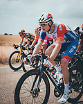 Arnaud Demare (FRA) Groupama-FDJ in the peloton during Stage 5 of La Vuelta d'Espana 2021, running 184.4km from Tarancón to Albacete, Spain. 18th August 2021.    <br /> Picture: Cxcling   Cyclefile<br /> <br /> All photos usage must carry mandatory copyright credit (© Cyclefile   Cxcling)