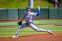 Florida Gators starting pitcher Hunter Barco (12) delivers a pitch to the plate against the Tennessee Volunteers on Robert M. Lindsay Field at Lindsey Nelson Stadium on April 11, 2021, in Knoxville, Tennessee. (Danny Parker/Four Seam Images)