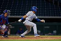 AZL Royals Enrique Valdez (4) at bat in front of catcher Henderson Perez (8) during an Arizona League game against the AZL Cubs 1 on June 30, 2019 at Sloan Park in Mesa, Arizona. AZL Royals defeated the AZL Cubs 1 9-5. (Zachary Lucy/Four Seam Images)