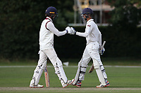 Will Buttleman (L) and Kieran Emmanuel of Brentwood during Brentwood CC vs Wanstead and Snaresbrook CC, Essex Cricket League Cricket at The Old County Ground on 12th September 2020