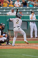 Eddy Alvarez (2) of the New Orleans Baby Cakes at bat against the Salt Lake Bees at Smith's Ballpark on August 4, 2019 in Salt Lake City, Utah. The Baby Cakes defeated the Bees 8-2. (Stephen Smith/Four Seam Images)