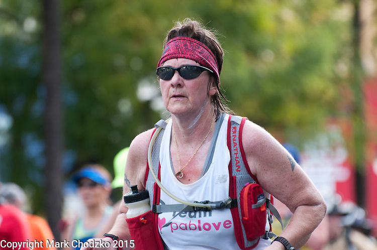 Older woman competes in the L.A. Marathon.