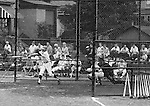 Ford City PA:  Bethel Park vs Arnold to advance to the state American Legion Playoffs.  Bobby Campbell swinging and hitting during the game.  Bob Purkey pitched a shut out (1-0) and the team advance to the state playoffs in Allentown PA.  Gary Biro on deck. Others in the photo; Mr. and Mrs. Bob Purkey Sr, Mike Stewart, Paul Hauck, Skip Uhl, and Craig Balmford.